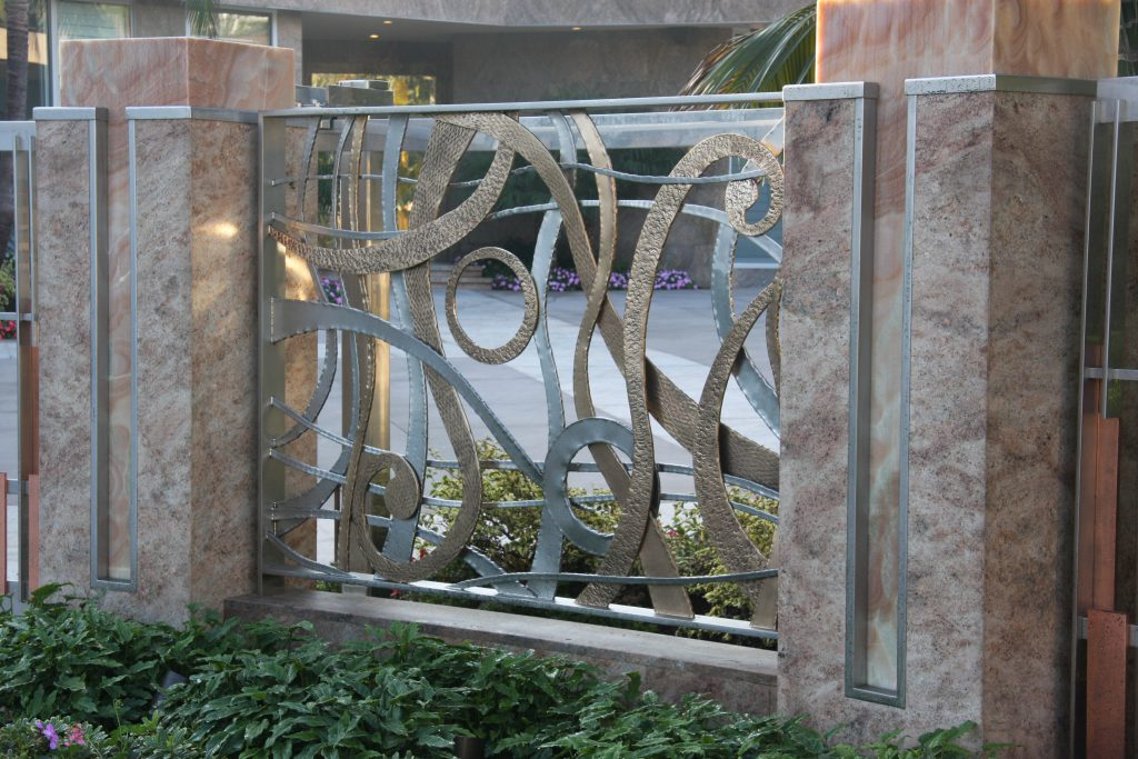 Forged and Polished stainless and brass fence panel