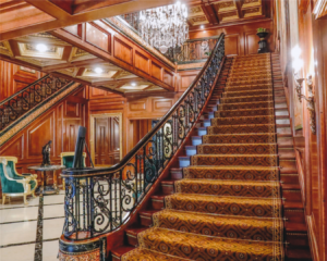 Elegant and Grand Stair Railing, Forged Ironwork and Carved Woodwork
