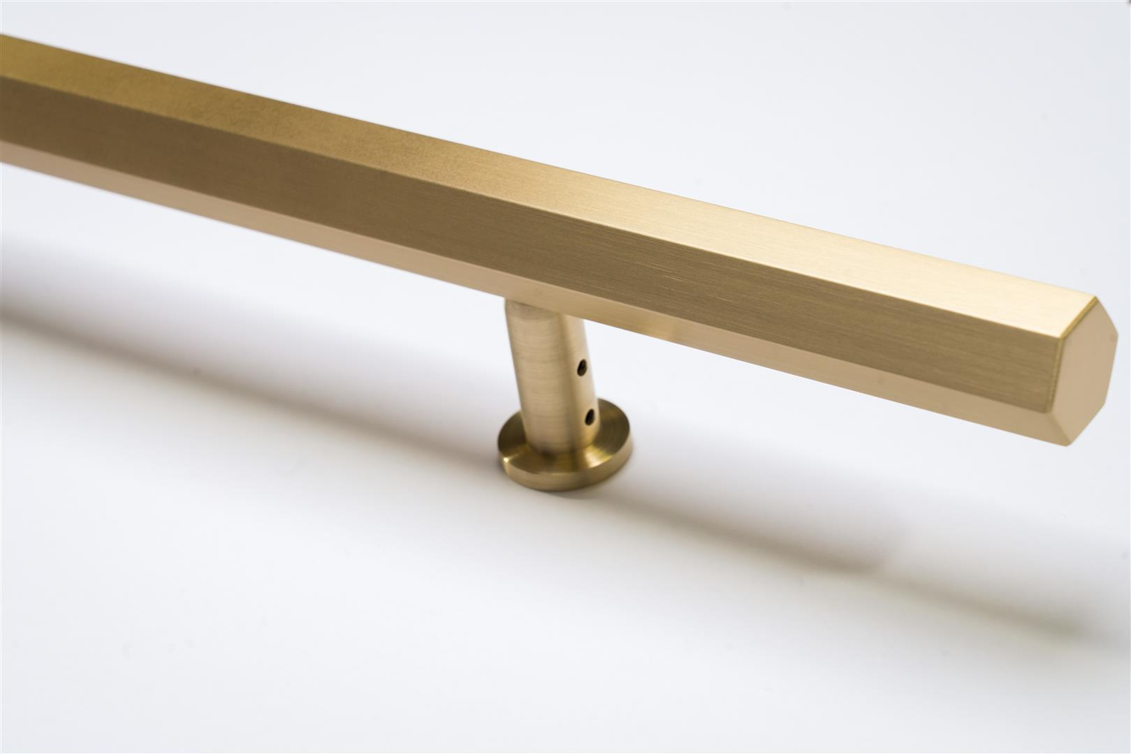Custom Bronze Door and Drawer Pulls, Multiple Sizes and Finishes Available. Grained Satin and Lacquered Brass is Shown.