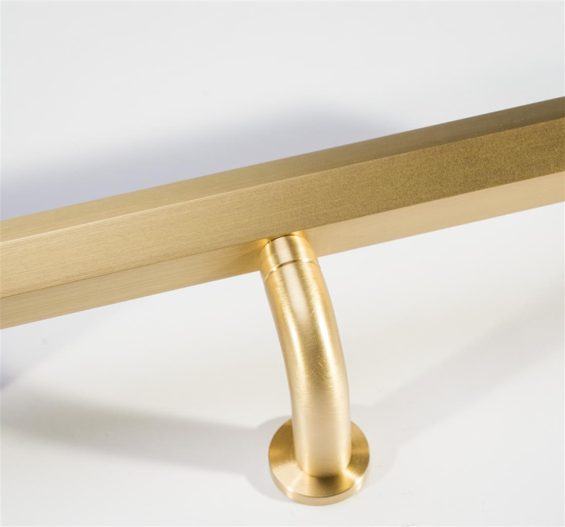 Custom Bronze Door and Drawer Pulls, Multiple Sizes and Finishes Available. Grained Satin and Lacquered Brass is Shown with a custom Offset bracket.