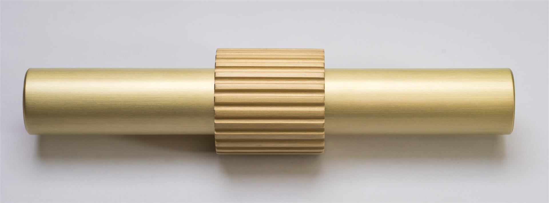 Custom Bronze Door and Drawer Pulls, Multiple Sizes and Finishes Available. Grained Satin and Lacquered Brass is Shown. This is a Standoff for a Wood, Leather or other round material.